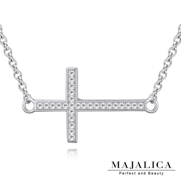 Majalica純銀項鍊祝福十字架鎖骨鍊925純銀  耶誕節禮物 PN5035