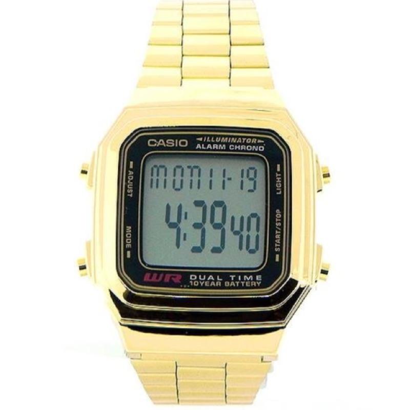 CASIO卡西歐歷久不衰熱銷DATABANK系列錶款經,典復古潮流金電子錶(A-178WGA - 1A)