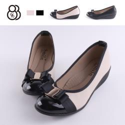 【88%】包鞋-舒適乳膠鞋墊 跟高5CM 皮質拼接亮皮 楔型鞋 包鞋 娃娃鞋 MIT台灣製