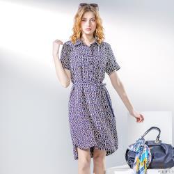 MONS流行名媛幾何藝術風印花綁帶洋裝