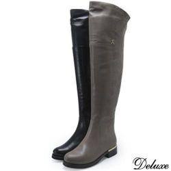 【Deluxe】全真皮格菱紋金屬扣飾流行膝上靴(黑、芋)-107-13-21