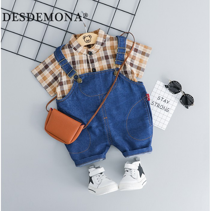 母嬰 夏季新款嬰幼兒童裝 兒童短袖套裝男女童短袖格子襯衫搭配揹帶褲兒童韓版兩件套裝
