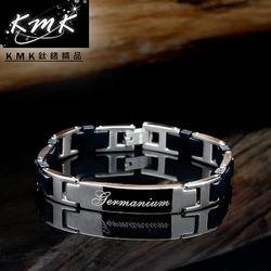 KMK鈦鍺精品【黑色物語】純鈦矽膠+磁鍺健康手鍊