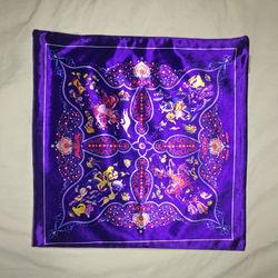 【協貿】奢華復古棉絨布料紫色花朵沙發方形抱枕含芯