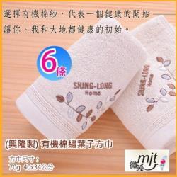 有機棉*繡葉子圖騰大方巾 (6條裝)   【台灣興隆毛巾製】無染系列