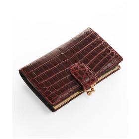 mieno 本物のクロコダイルレザー財布がま口 ボルドー