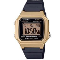 【CASIO】方形機能性設計感電子錶-金框(W-217HM-9A)