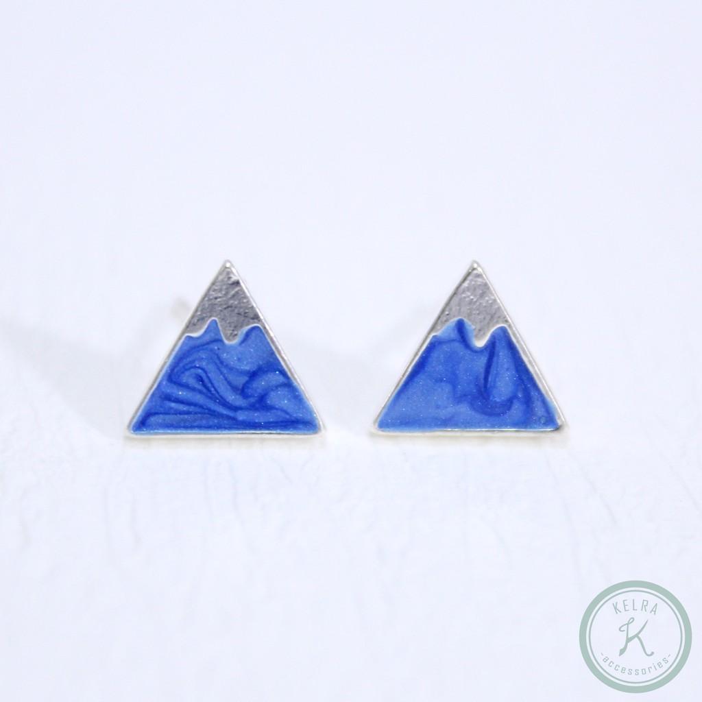【KELRA】925銀耳針富士山漸變藍色耳環耳夾