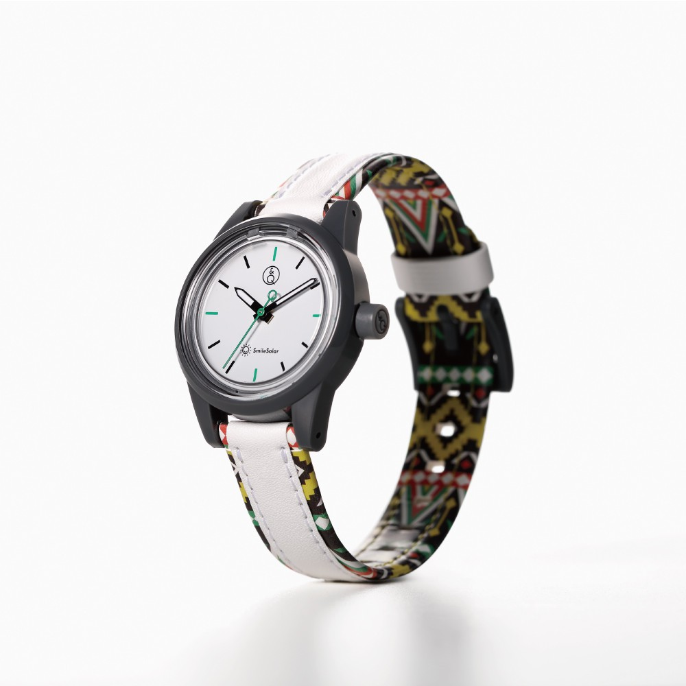 Q&Q SmileSolar MINI異國系列 023太陽能手錶-菲律賓白/30mm (RP01J023Y)