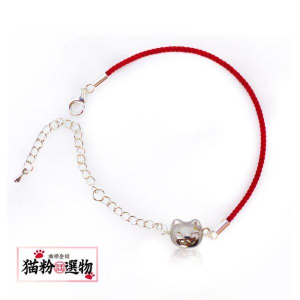 【貓粉選物】貓粉紅繩手鍊-925鍍銀空心貓頭
