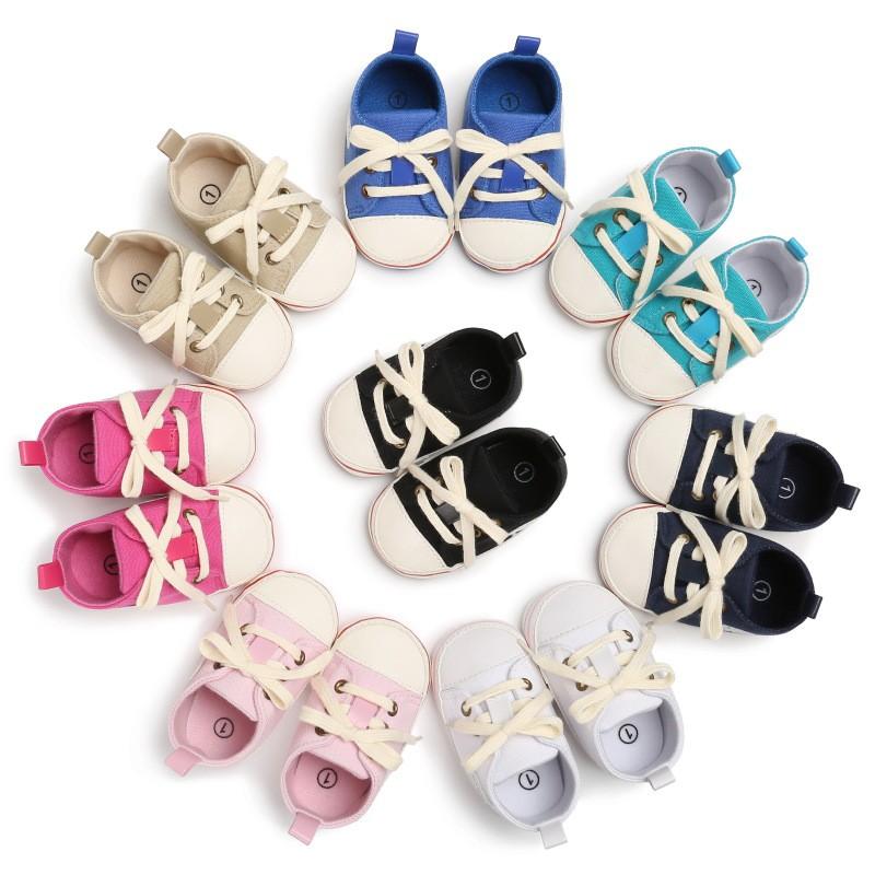 0-1歲男寶寶女寶寶中筒膠底休閒帆布鞋嬰兒學步鞋