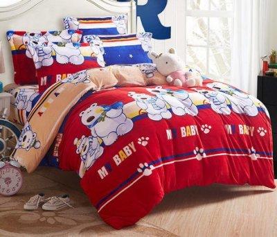 法蘭絨床包= RS雜貨舗 = 雙人法蘭絨床包被套枕套四件組[兩用毯+被套]沙發套沙發墊毛毯毛呢大衣絨毛四件組[可愛熊寶]