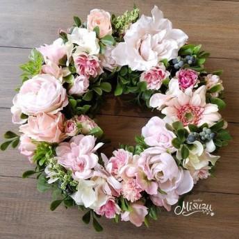 リース(造花) 玄関に 贈り物 ギフト 永遠の象徴♪ ピンク系