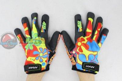 [安信騎士] ARAYI AGV式樣 彩繪手套 F-005 Valencia 小花 短版 透氣 防曬 手套