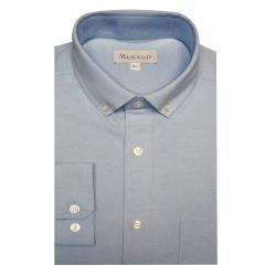 [MURANO]休閒牛津長袖襯衫-淺藍