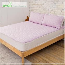 eyah宜雅 台灣製純色加厚舖綿保潔墊平單式雙人加大3入組(含枕墊*2)-魅力紫-新