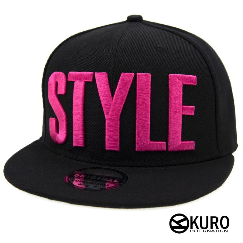 KURO-SHOP黑色桃紅繡線STYLE潮流平板帽棒球帽