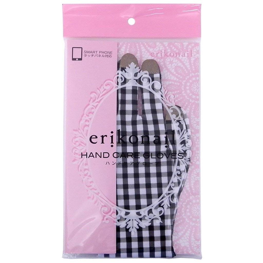 日本 erikonail 保濕手部防護美容棉質手套 薄彈力 舒適+可觸屏 粉/黑【JE精品美妝】