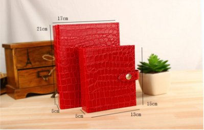 [[噗噗 Store]] 紅色小本---耳環收納本 耳釘收藏書 項鍊 鱷魚皮紋 收納書