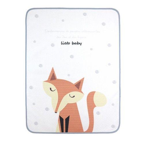 韓國 Lieto baby - 童話風有機棉防水墊-晚安狐狸 (100*130cm)