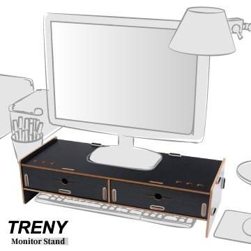 【TRENY直營】電腦螢幕增高架 (加厚雙抽-黑) 電腦螢幕收納架 螢幕架 鍵盤架 鍵盤收納 抽屜 D5088T-B