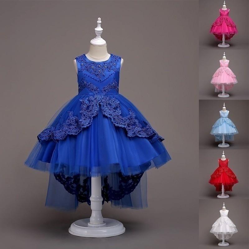 孩子的蕾絲薄紗婚禮公主派對長禮服【IU貝嬰屋】