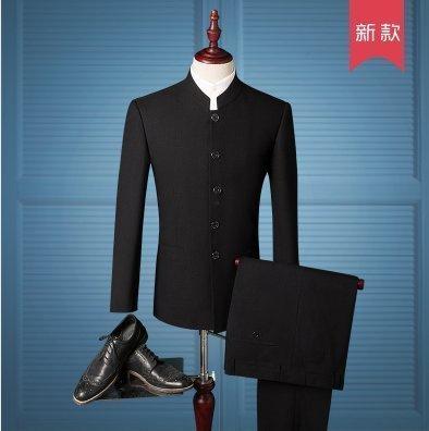 高品質中山裝套裝中華立領男士修身時尚韓版青年西服中式潮新郎禮服西裝男士西服套 19862