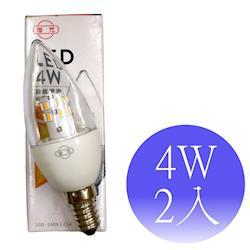 【旭光】4W LED E14尖清蠟燭燈 綠能燈泡-2入(白光/黃光)