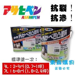 日本Asahipen室內外牆壁防水抗裂凹凸風格塗料7L-白色