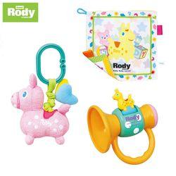 【RODY】喇叭搖鈴+安撫手帕+布質掛件組(粉、黃)