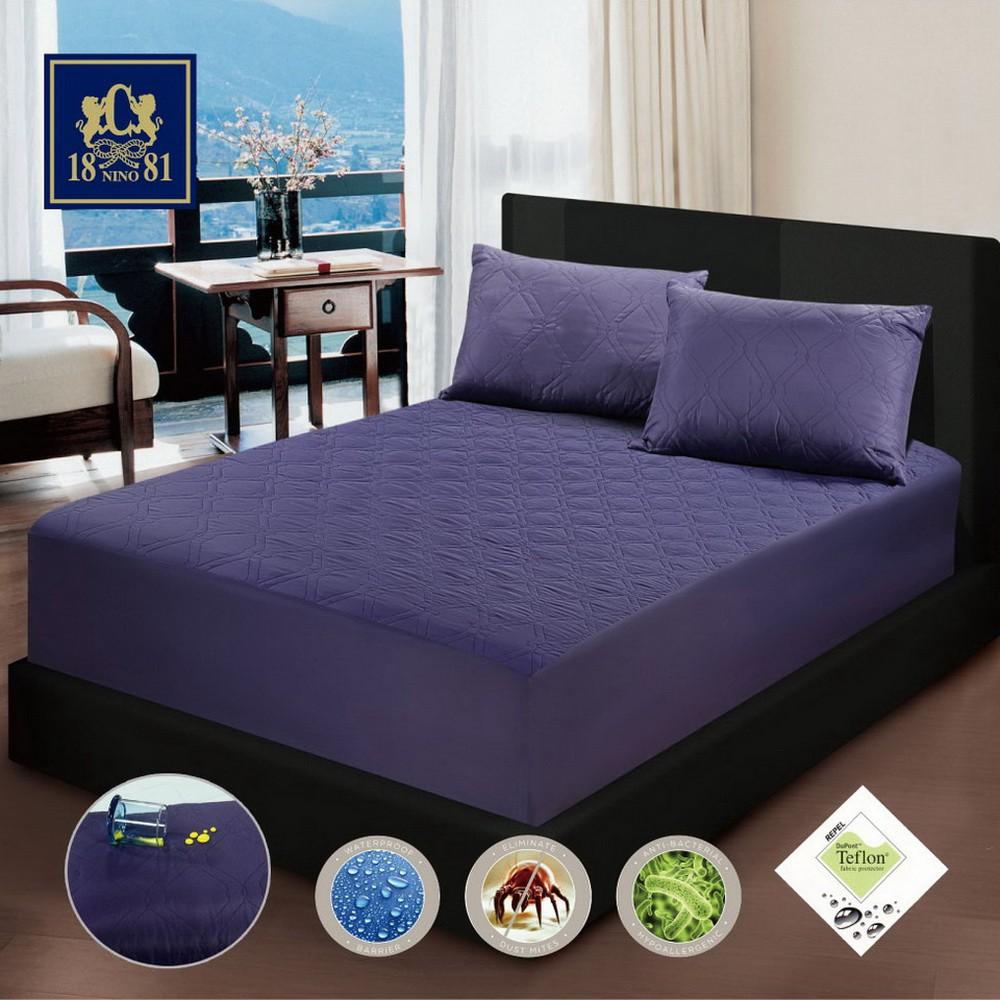 NINO1881杜邦防潑水床包式保潔墊加枕芯三件組-(含保潔墊1件+保潔枕2個)