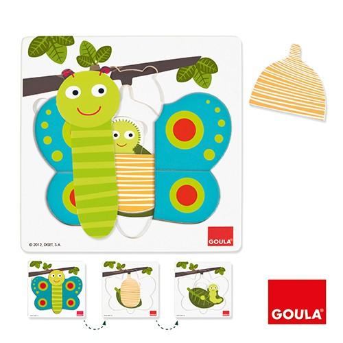 西班牙 GOULA - 三層拼圖-蝴蝶-2歲以上