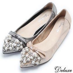 【Deluxe】全真皮珍珠蝴蝶結水鑽尖頭增高包鞋(金☆灰)-928-B2