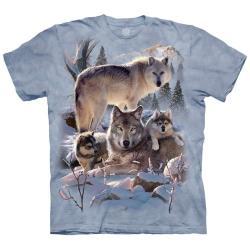 摩達客 (預購) (男女童) 美國進口The Mountain 雪狼家族 純棉環保藝術中性短袖T恤