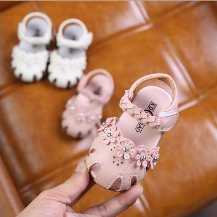 特價出清 現貨12-14公分軟底嬰兒涼鞋女寶寶涼鞋包頭防踢花朵女寶寶涼鞋