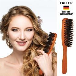 【德國FALLER芙樂梳具刷具】德國製梨木黑豚鬃特長美髮梳 防靜電讓秀髮閃亮動人