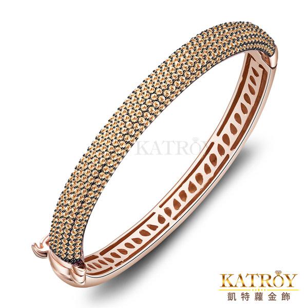 KATROY Luxury Fashion 925純銀手環壓扣式開合滿鑽 精鍍玫瑰金色 手工微鑲半圈滿鑽 香檳金款 BG6001-4