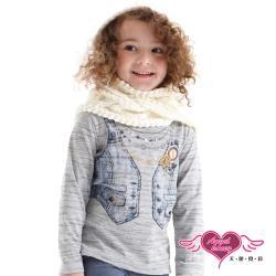 天使霓裳 趣味背心 童裝塗鴉假兩件長袖T恤上衣(灰) J1101312