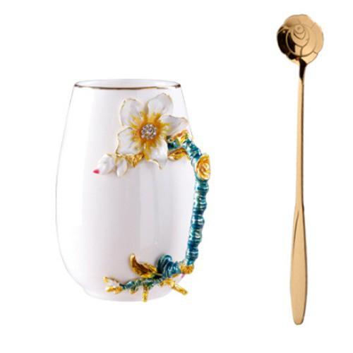 5Cgo陶瓷大容量水杯馬克杯情侶杯辦公室茶杯琺琅彩創意禮品北歐風馬卡龍色梅花款新骨瓷創意逼真569397625524