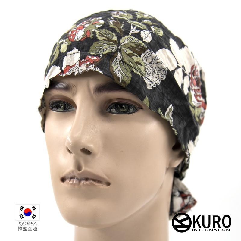 KURO-SHOP韓進口黑色玫瑰花印花免綁頭巾
