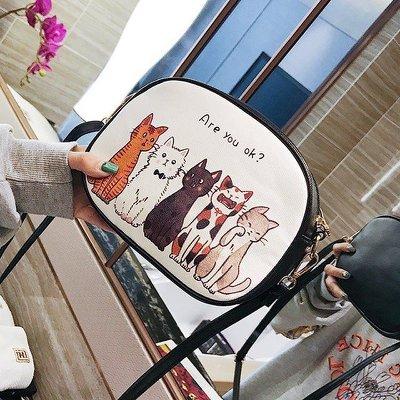 【東東雜貨】可愛插畫貓咪斑馬貓星人黑貓花貓白貓仿皮簡約百搭復古個性小方包枕頭包迷你小包肩背包單肩包斜背包側背包斜跨包背包