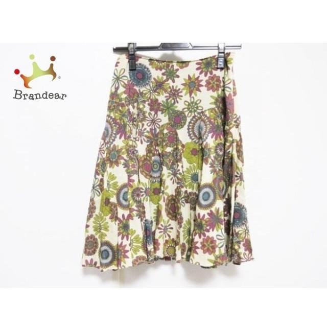 ホコモモラ JOCOMOMOLA スカート サイズ40 XL レディース ベージュ×パープル×マルチ プリーツ  値下げ 20190918