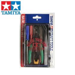 日本田宮TAMIYA基本入門塑膠模型工具組ITEM74016*198(含斜口鉗.一字起子.十字起子.銼刀.鑷子.美工刀)