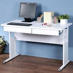 【Homelike】巧思辦公桌 亮白-白色加厚桌面120cm附2抽