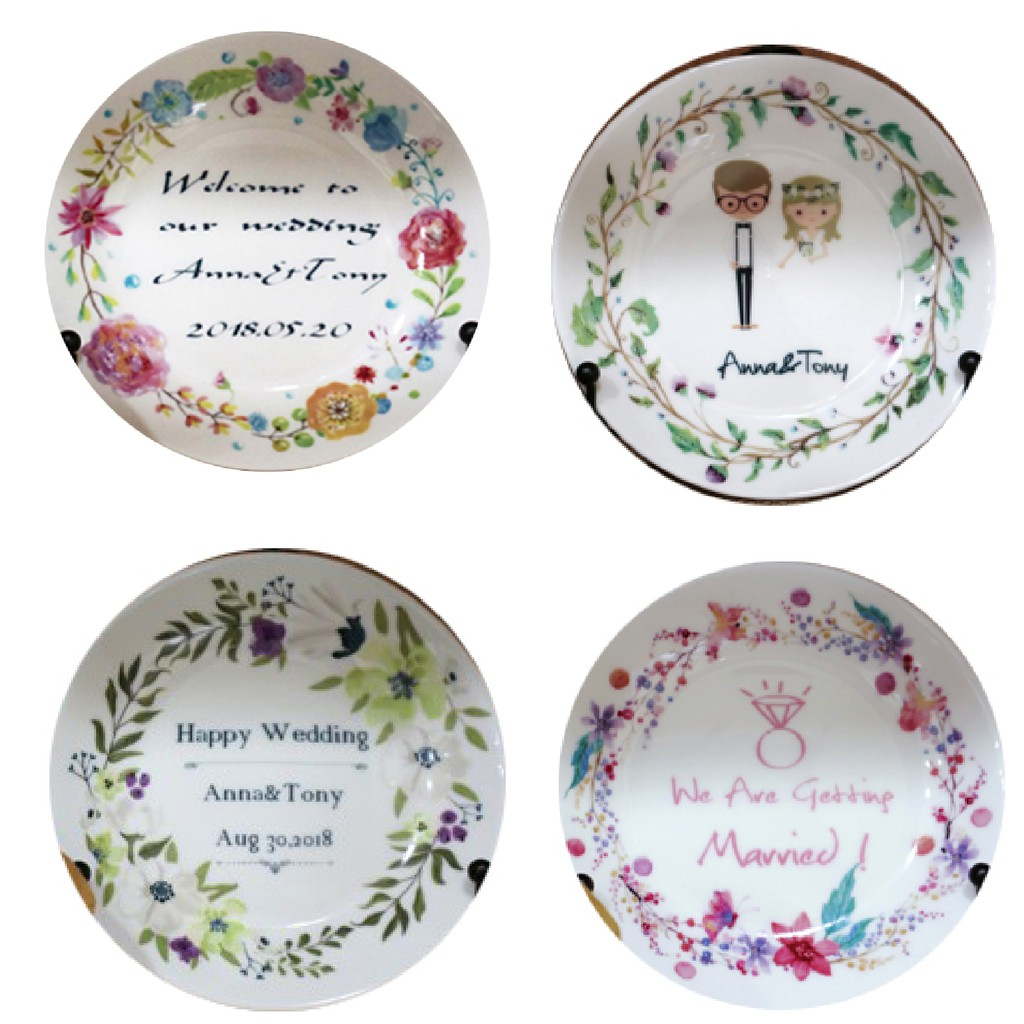 客製化花圈小盤5吋骨瓷盤附盤架 量多價格優惠 婚禮小物 飾品盤 結婚禮物