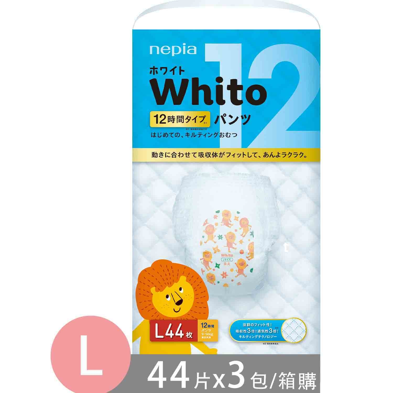 王子 Nepia - Whito超薄長效 褲型-褲型 (L號[9~14kg])-44片x3包/箱