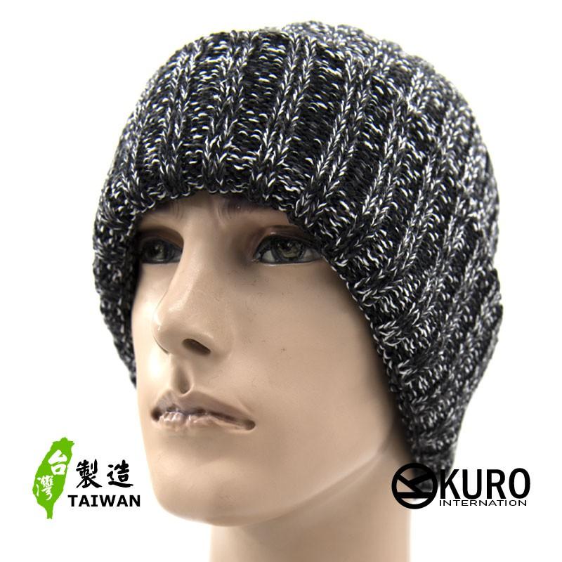 KURO-SHOP台灣製造 黑、淺灰混紡粗直紋針織帽
