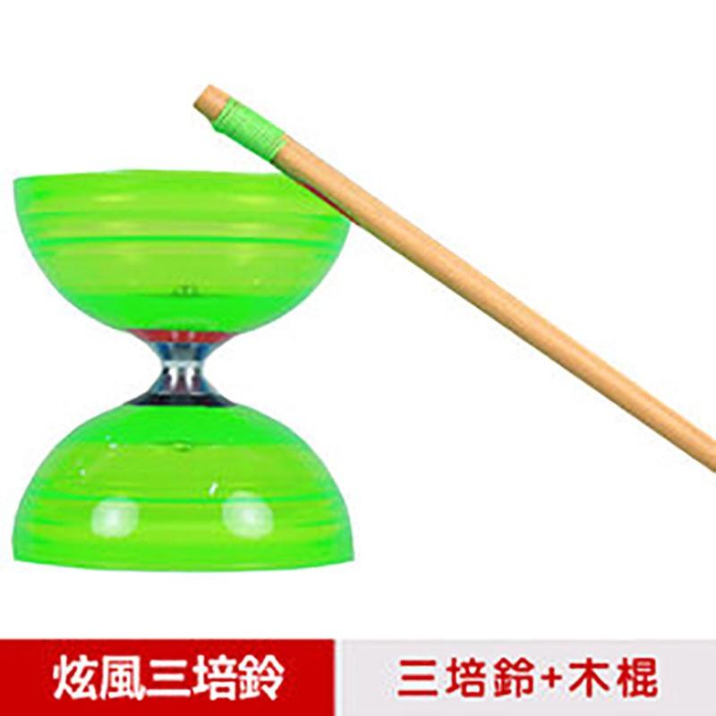 【三鈴SUNDIA】台灣製造-炫風長軸三培鈴扯鈴(附木棍、扯鈴專用繩)綠色