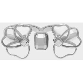 クリスタル&アクリル ペタルダブルリング / Crystal & Acrylic Petal Double Ring(Silver)