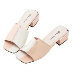 Robinlo 優雅名媛雙色方頭低跟涼拖鞋 AMERY-粉色